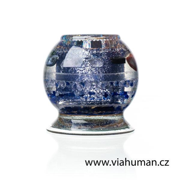 Svícen modrý křišťál,šungit a 9 kamenů